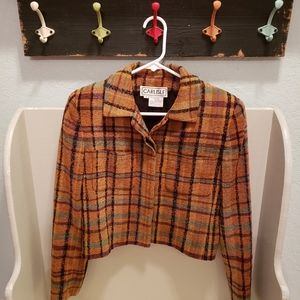 Vintage Carlisle Orange Plaid Wool  Blend Jacket